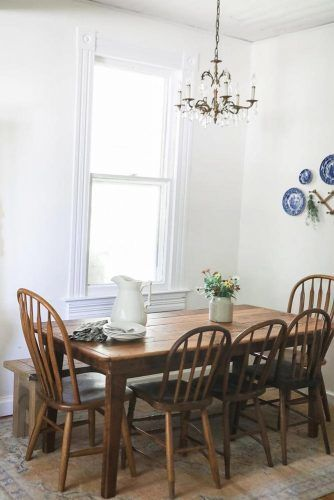 Simple Wood Table Design With Vintage Chairs #rustictable