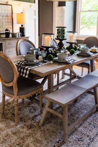 Rustic Wood Farmhouse Table With Bench #rustictable #chairs