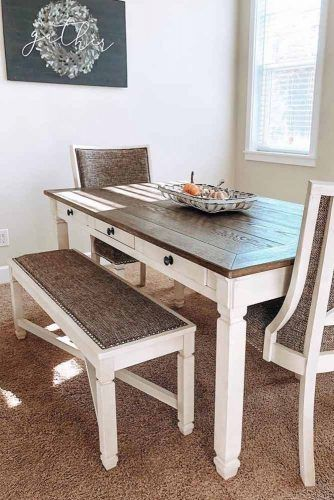 Brown And White Table With Setting Furniture Set #chairs #bench