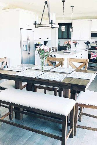 Wooden Farmhouse Table With Upholstered Furniture #bench #chairs