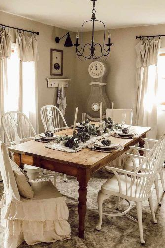 Simple Wood Table With Vintage Chairs #vintagechairs