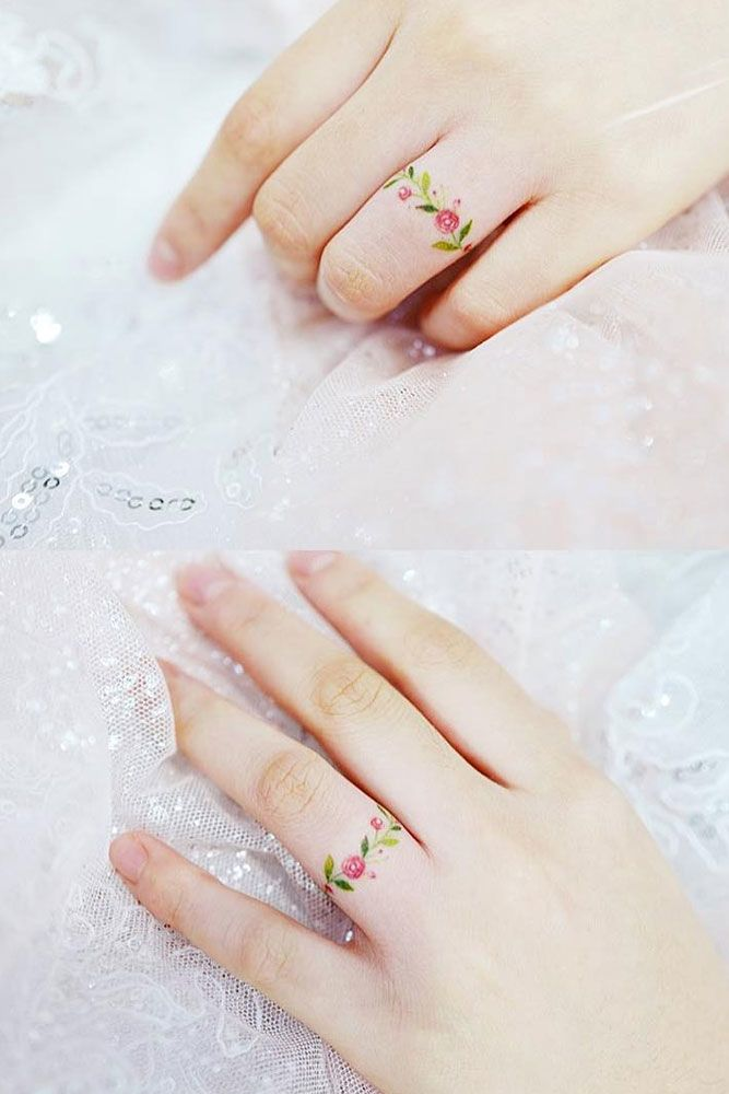 Floral Ring Finger Tattoo #floralringtattoo
