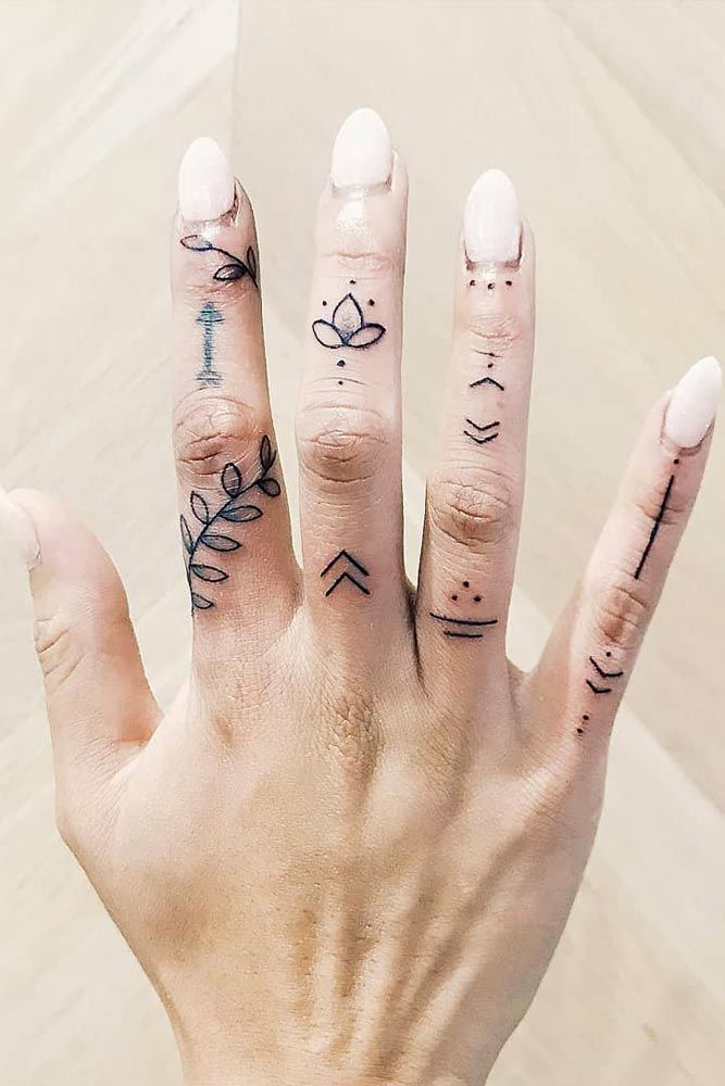 Simple Dotted And Lined Finger Tattoos #smalltattoos