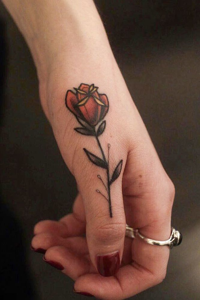 Big Finger Rose Tattoo Design #rosetattoo #flowertattoo