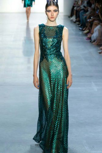 Tadashi Shoji Collection On New York Fashion Week #tadashishoji #longdress #greendress