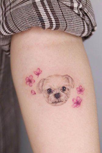 Cherry Blossom Tattoo Design With Pet #pettattoo #dogtattoo