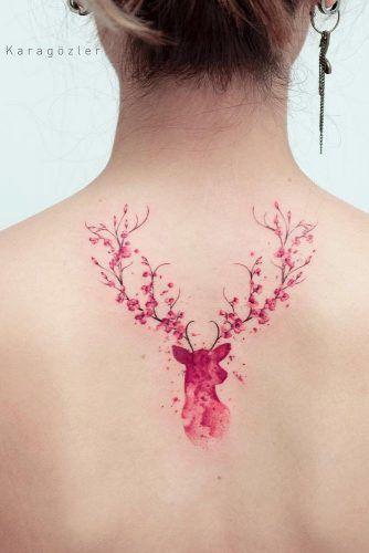 Blossom Deer Tattoo On Back #backtattoo #deertattoo