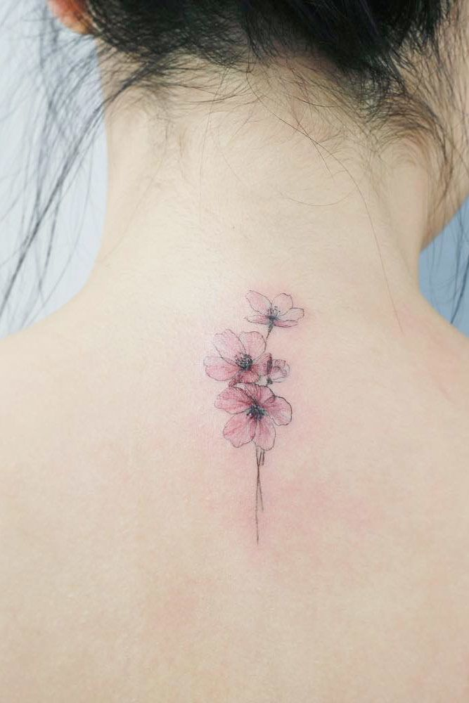 Variations In Cherry Blossom Art #backtattoo #watercolortattoo