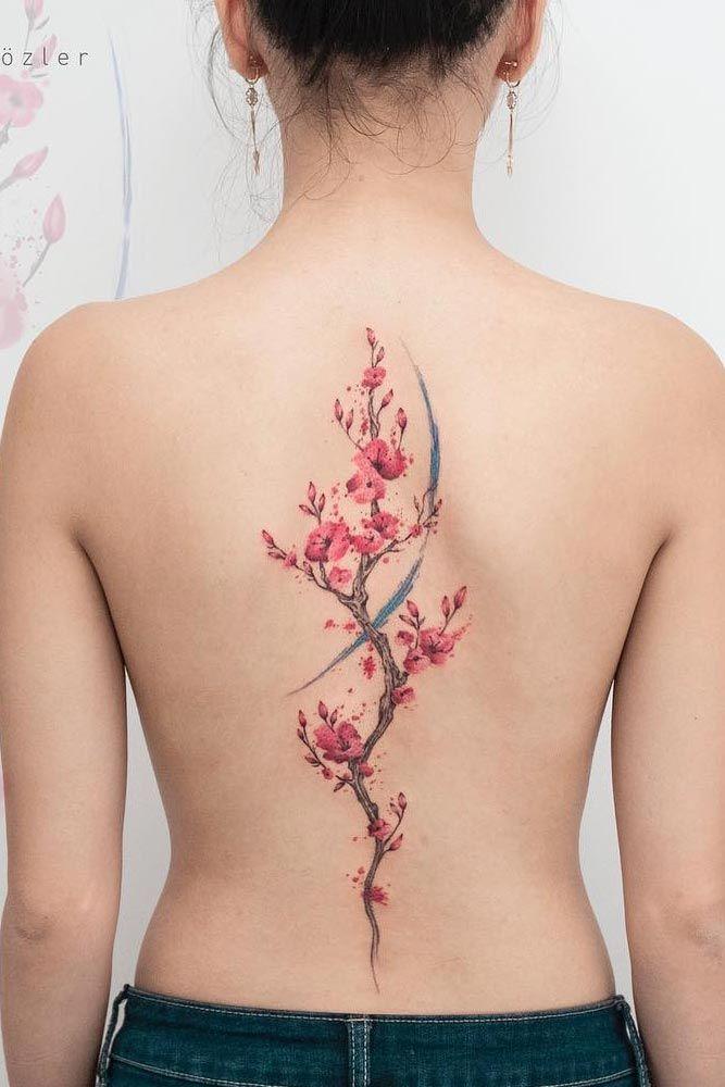 Big Cherry Blossom Back Tattoo #backtattoo #bigtattoo #watercolortattoo