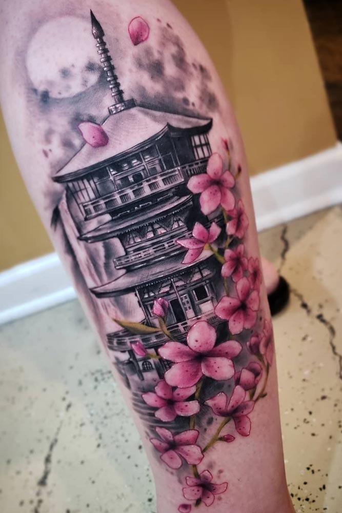 Big Cherry Blossoms And Pagoda Tattoo Design #blackandwhitetattoo