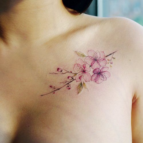 Placement Guide For Cherry Blossom Tattoo #chesttattoo #shouldertattoo