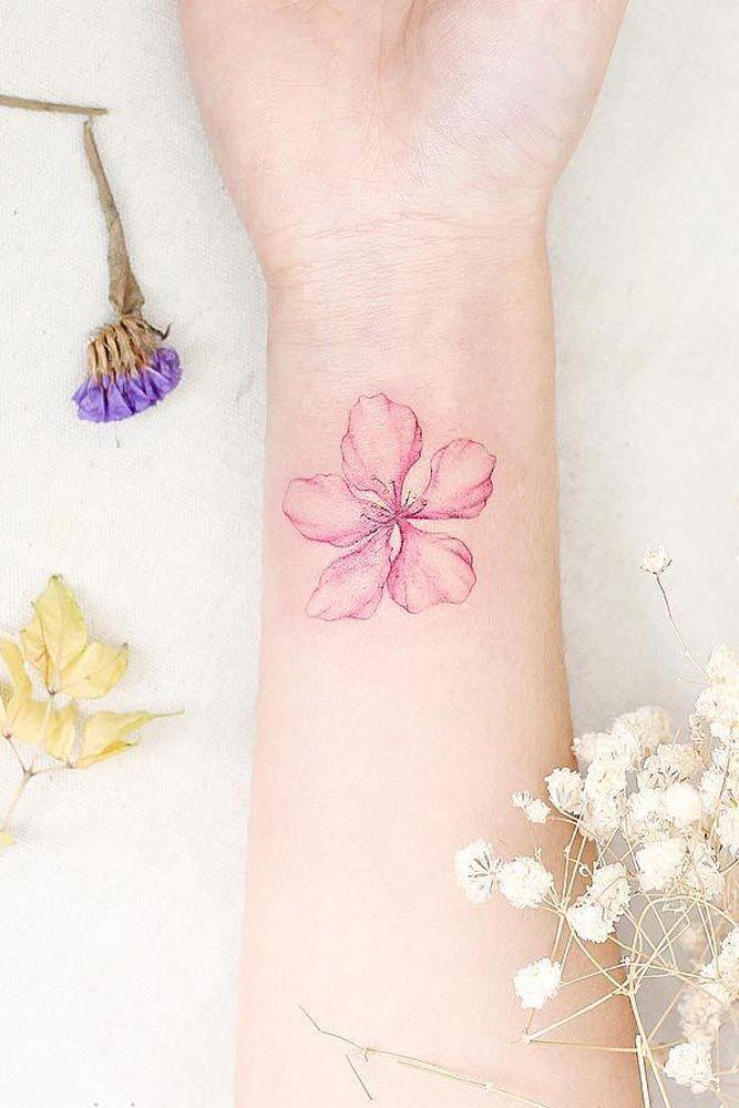 Watercolor Cherry Blossom Flower On Wrist #wristtattoo #watercolortattoo