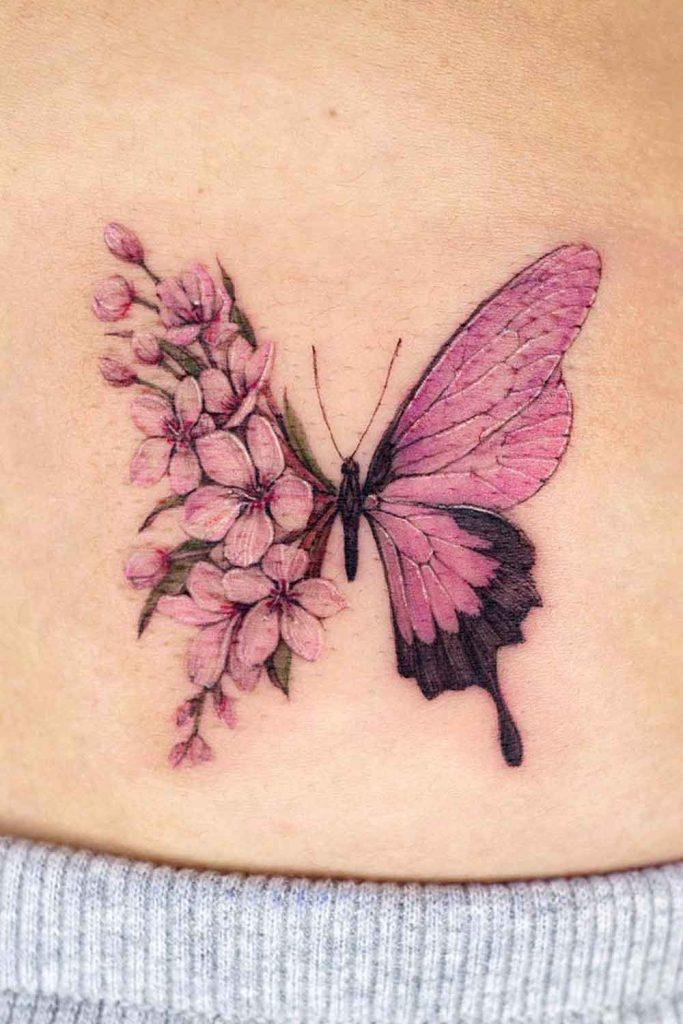 Half Butterfly Cherry Blossom Tattoo