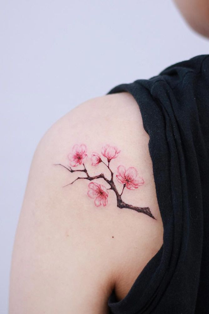Cherry Blossom Branch Tattoo On The Shoulder #shouldertattoo #branchtattoo