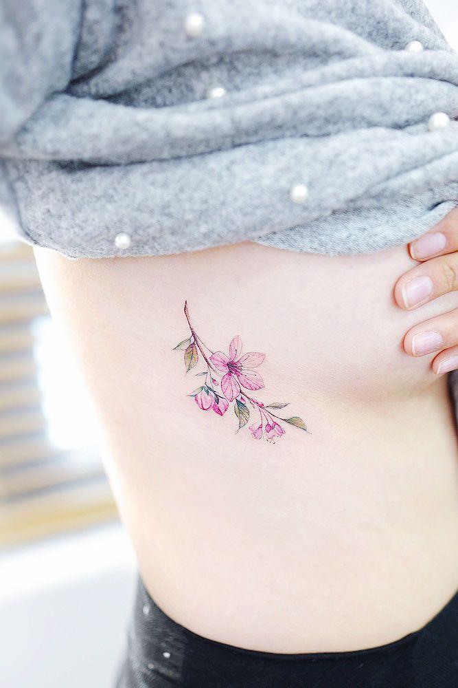 Sakura Flowers Tattoo On A Side #sidetattoo #watercolortattoo