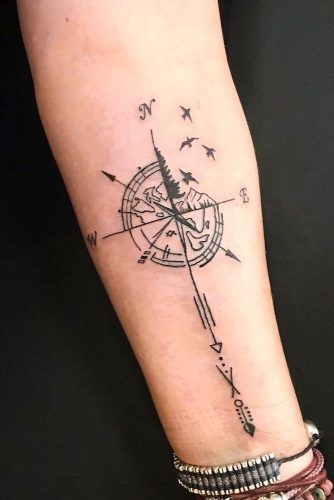 Compass Forearm Tattoo Design #forearmtattoo