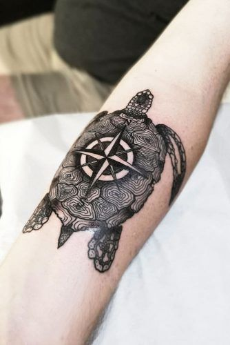 Compass Tattoo Design Combined With Turtle Tattoo #turtletattoo