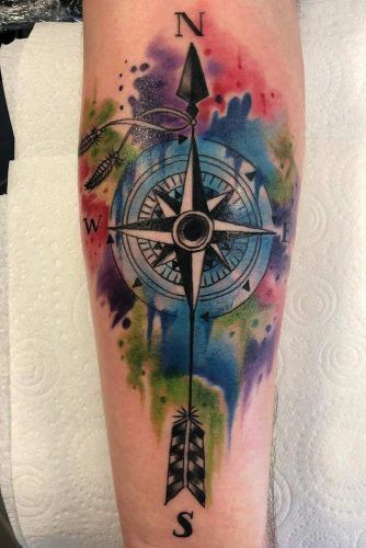 Watercolor Compass With Arrow Design #arrowtattoo #watercolortattoo