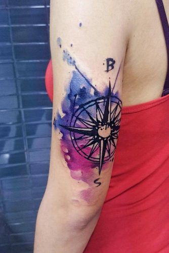 Watercolor Compass In Galaxy Colors #armtattoo #galaxytattoo