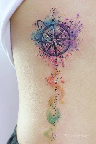 Watercolor Compass Tattoo On A Side #watercolortattoo #sidebodytattoo