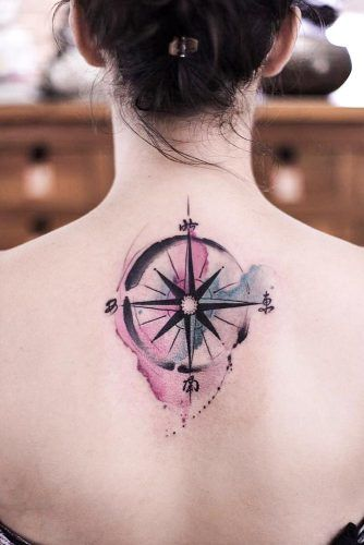 Watercolor Compass Tattoo Design On Back #watercolortattoo #backtattoo