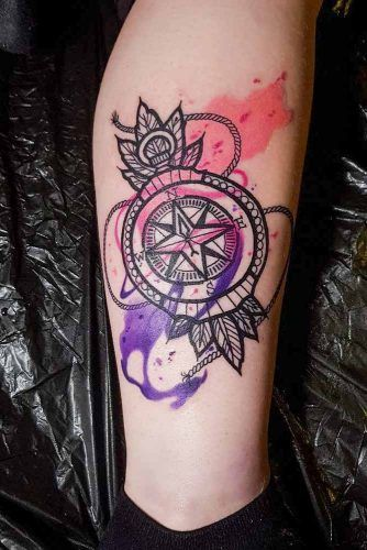 Ornamental And Watercolor Compass Tattoo Design #watercolortattoo