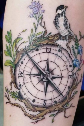 Compass Tattoo Design With Nature Accents