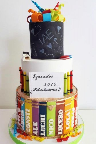 Colorful Pencils Cake Design #colorfulpencilsdecor #tierscake