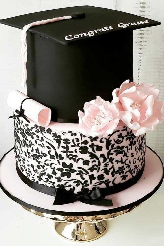 Black And Pink Graduation Cake With Floral Decorations #floralcakedecor