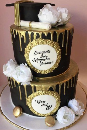 Two Tiers Black And Gold Grad Cake #flowers #blackgoldcake