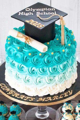 Ombre Rosette Buttercream Cake Design #buttercreamcake #ombrecake