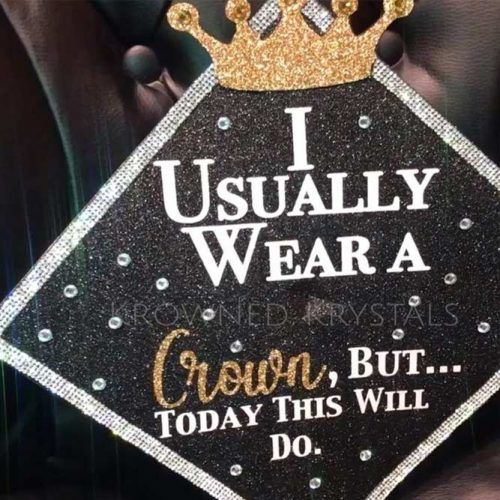 Crown Graduation Cap Design #crowngradcap #blackgraduationcap