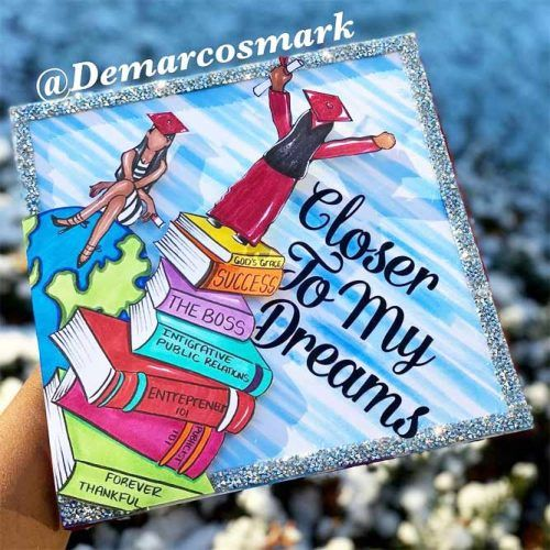 Painted Graduation Cap Design #books #quotes