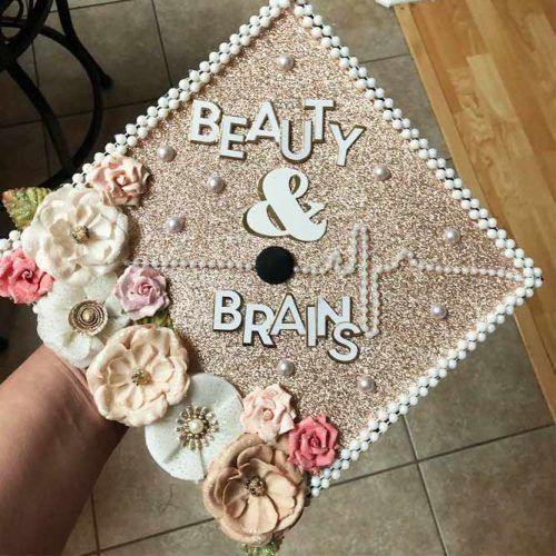 Gold Graduation Cap With Flowers #flowersgraduationcap