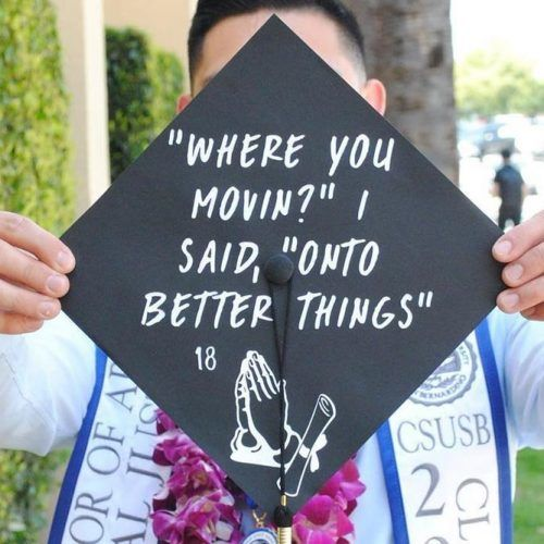Simple Black Cap With Quotes #simplegraduationcap #quotes