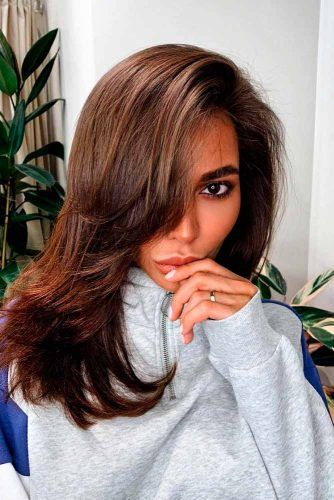 Side Bangs #sideswepthairstyles #brownhair
