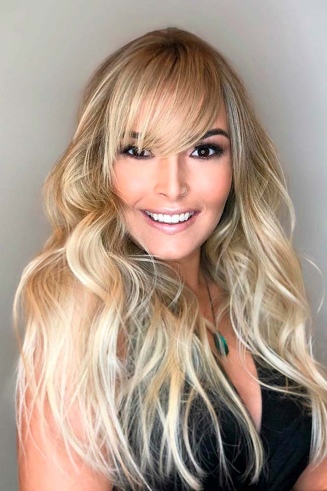 Long, Thin And Side-Swept #blondehairstyles #longhair