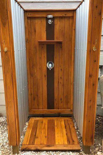 Closed Corrugated Tin And Wood Closed Shower #corrugatedtin