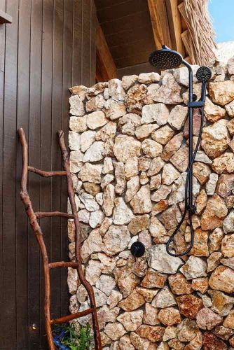 Natural Stones Outdoor Shower Design With Double Heads #stones #rustic