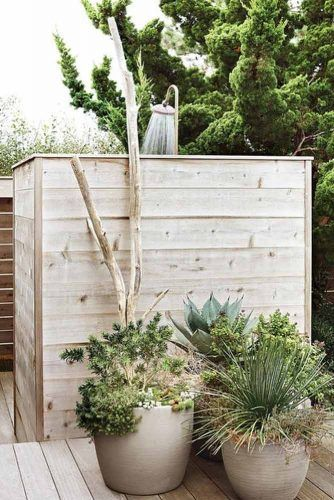 Closed Wood Outdoor Shower With Garden Head #gardenhead
