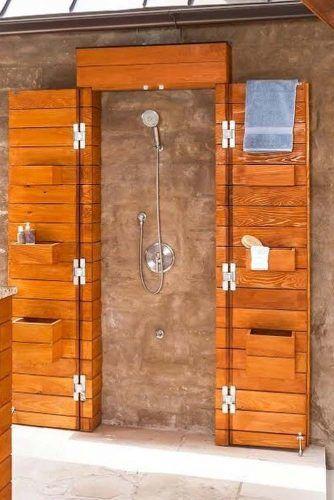 Poolside Wooden Shower #poolsideshower