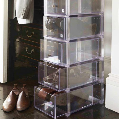 Large Stackable Shoe Storage Drawers #plasticshoeorganizer
