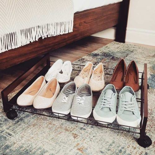 Underbed Wire Shelf #underbedshoeshelf