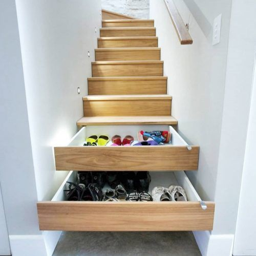 Shoe Drawers In Stairs #shoestorageunderstairs