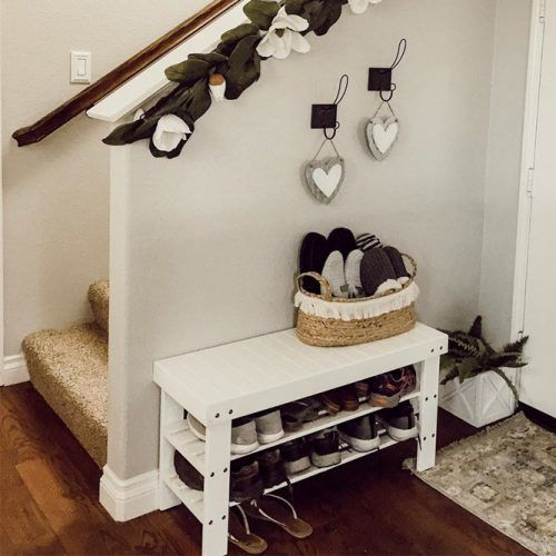 Shoes Storage Space Under Bench #woodshoestorage