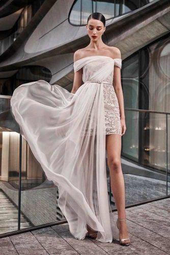 Asymmetric Tulle Cape #asymmetricweddingdress #uniqueweddingdress