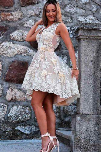 Styling Tips For Short Wedding Dress Wearing #laceweddingdress #floralweddingdress