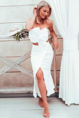 Shoulder Off High Wrap Dress #uniqueweddingdress #moderndress