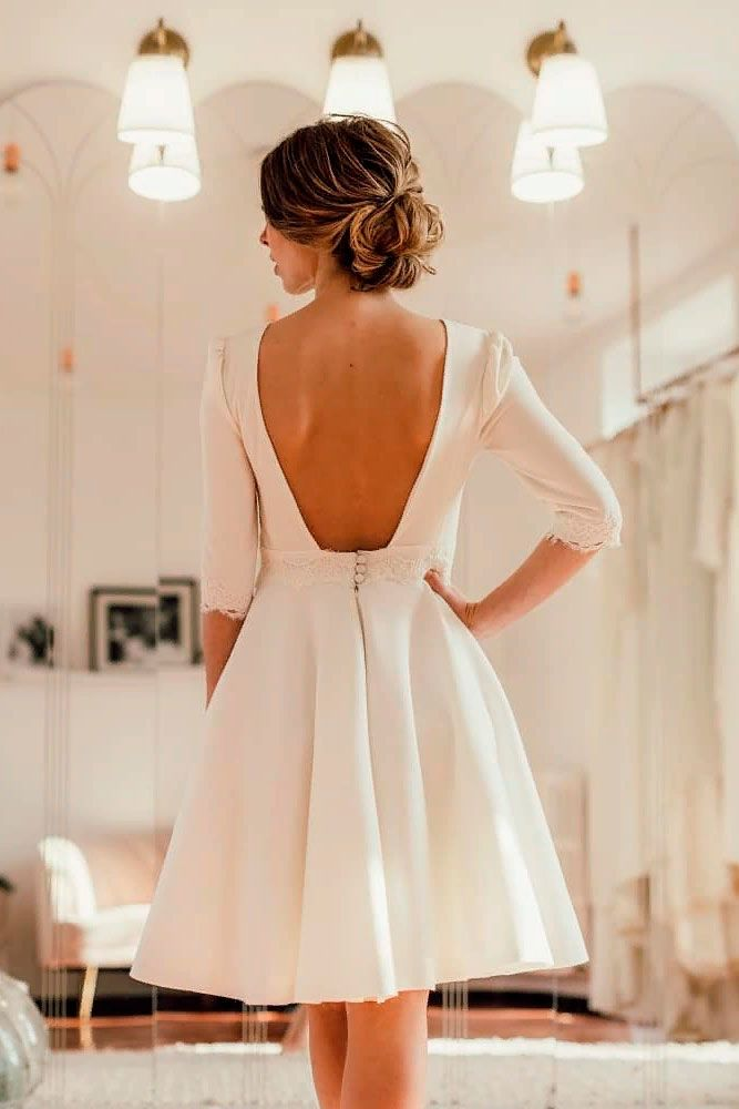 Elegant Short Dresses With Open Back #openbackdress #simpleweddingdress