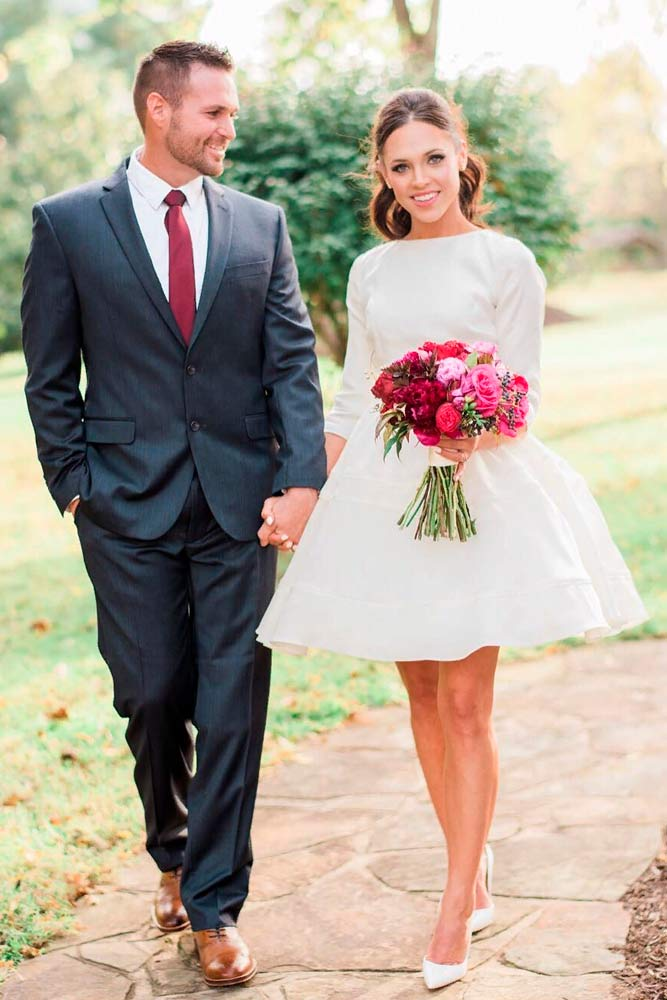 Simple Satin Short Dress With ¾ Sleeves #satinweddingdress #simpleweddingdress
